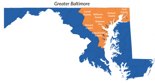 IMAGE OF MAP OF MARYLAND WITH GREATER BALTIMORE COUNTIES HIGHLIGHTED