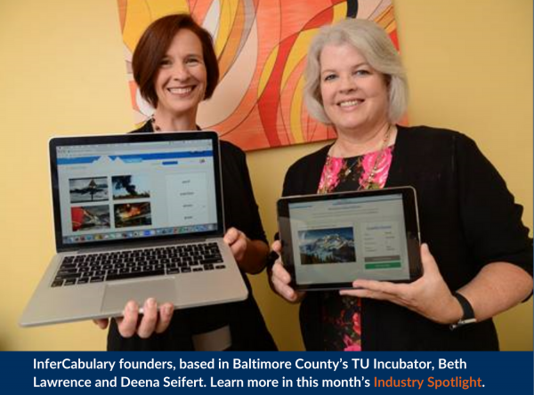 InferCabulary founders, based in Baltimore County's TU Incubator, Beth Lawrence and Deena Seifert.