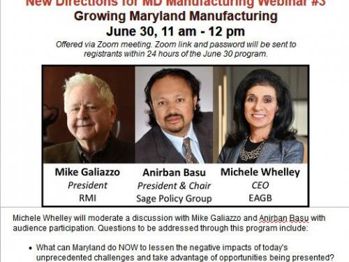 """Growing Maryland Manufacturing"" Moderated by EAGB President & CEO Michele Whelley"